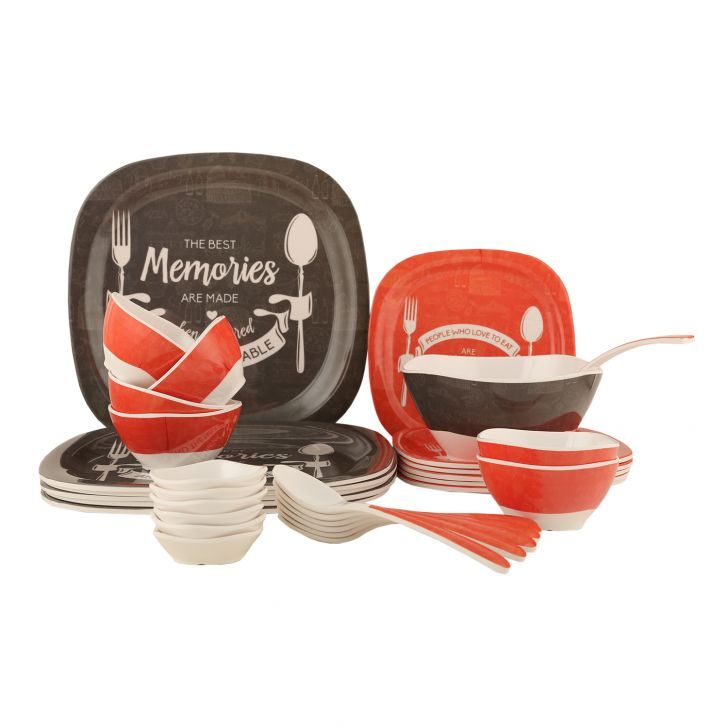 Foodaholic 32 Dinner Opalware Dinner Sets in Orange & Grey Colour by Living Essence