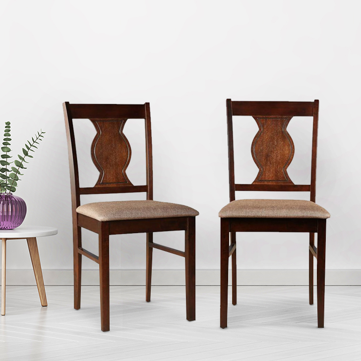 Artois Solid Wood Dining Chair Set of Two in Antique Cherry Colour by HomeTown