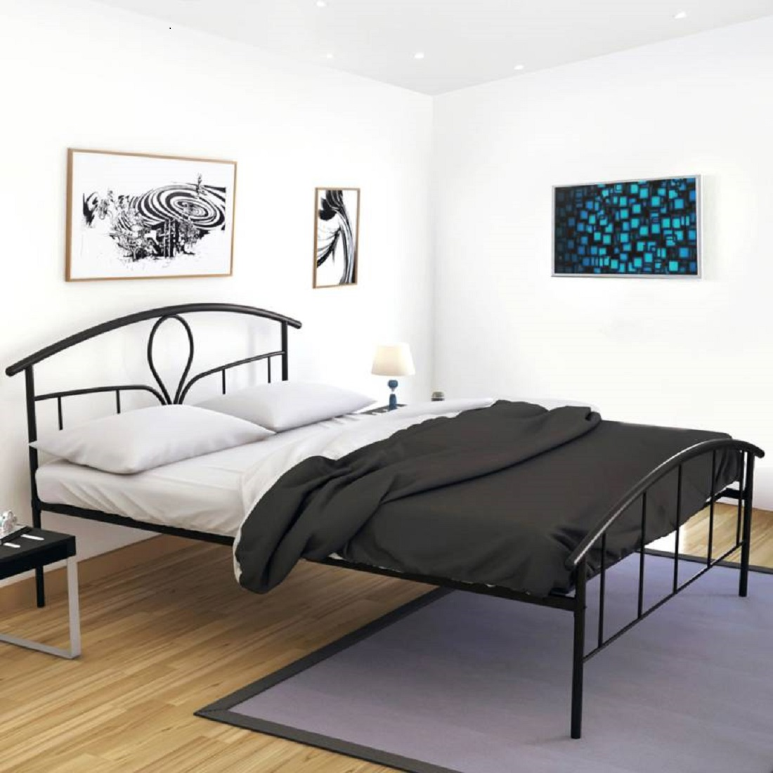 Elegant Metal Queen Size Bed in Black Colour by HomeTown