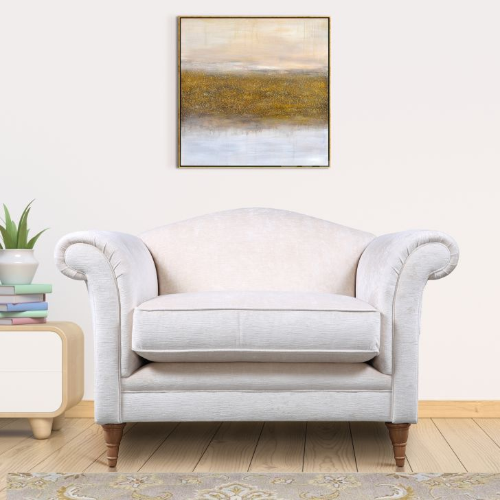 Gloucester Fabric Single Seater Sofa in Off White Colour by Laura Ashley