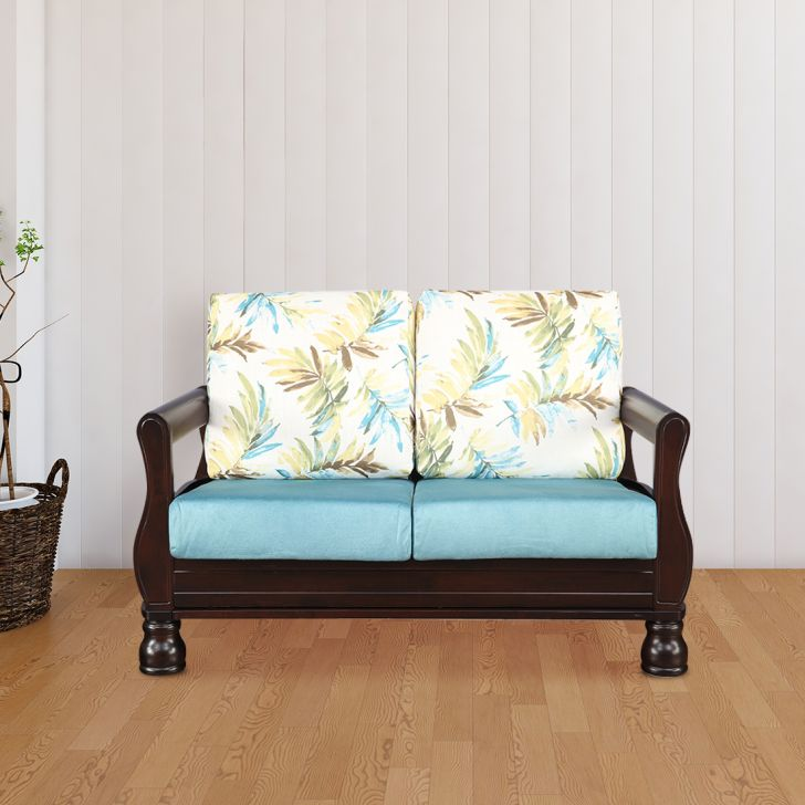 Clyde Solid Wood Two Seater Sofa With Cushion in Printed Teal Colour by HomeTown