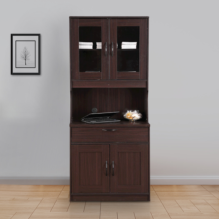 Libya Engineered Wood Crockery Cabinet in Walnut Colour by HomeTown