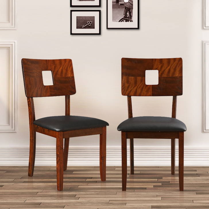 Lobito Solid Wood Dining Chair Set of Two in Walnut Colour by HomeTown