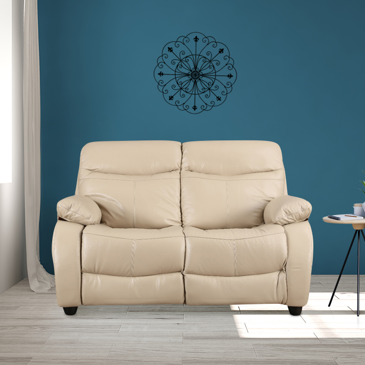 Russel Half Leather Two Seater sofa in Beige Colour by HomeTown