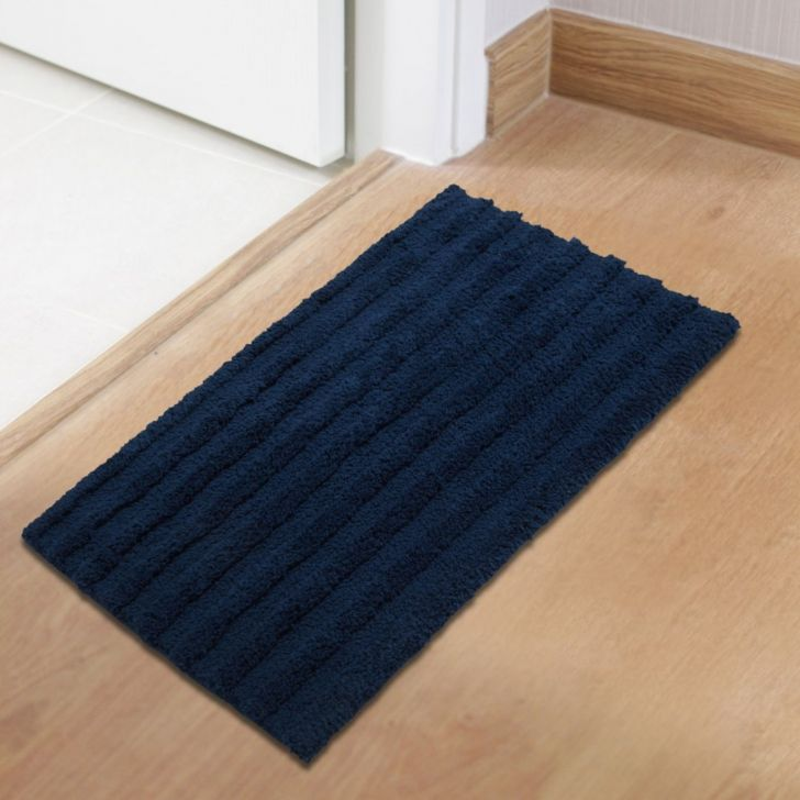 Spaces Polyester Bath Mat in Navy Colour by Spaces