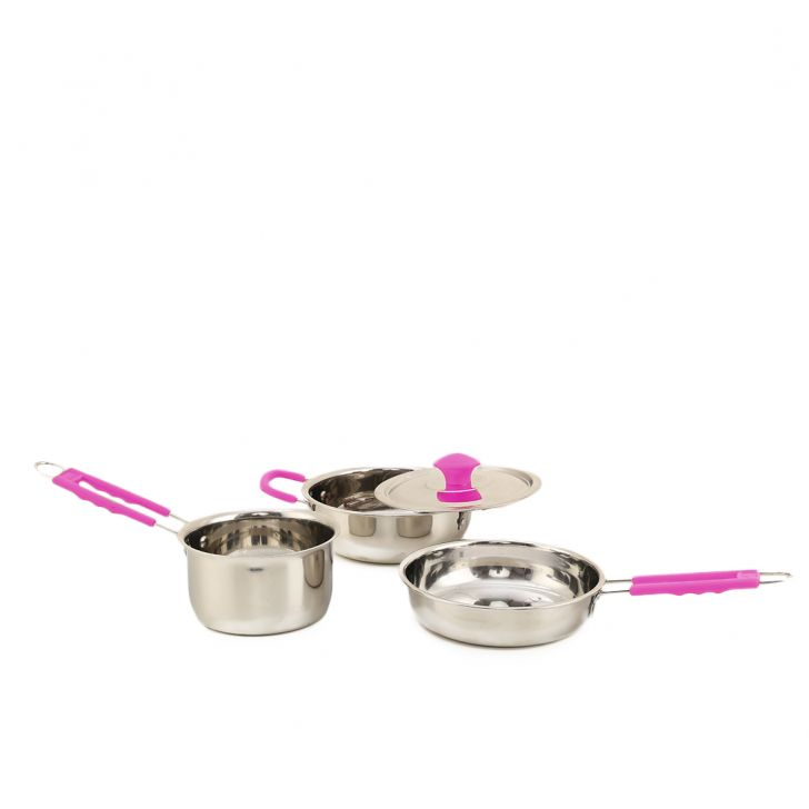 Health Plus Cookware Set Of 4 Pink Stainless steel Cookware Sets in Steel With Pink Colour by HomeTown