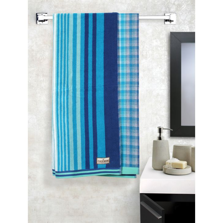 One Side Terry Cotton Bath Towels in Blue Colour by Cannon