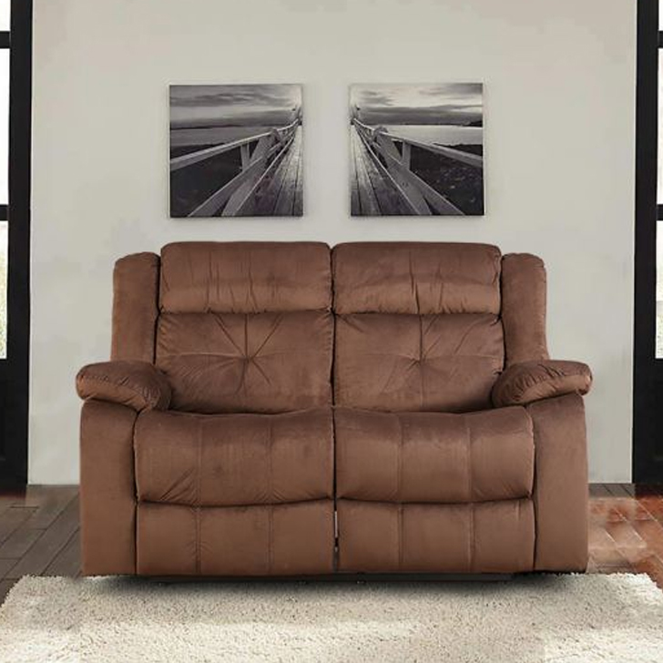 Christopher Fabric Two Seater Recliner in Brown Colour by HomeTown