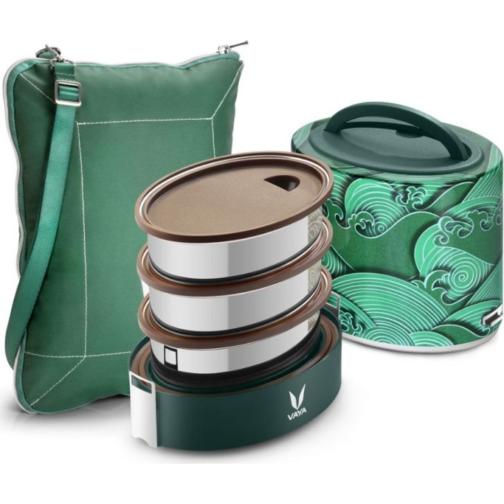 Vaya Tyffyn 1000 Ml With Bagmat - 3 Stainless Steel Containers, Kimono