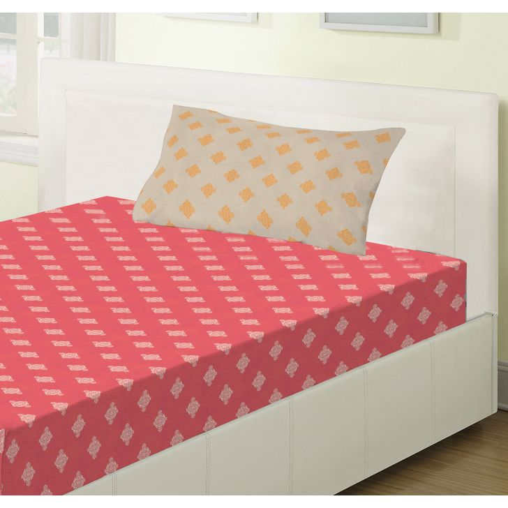 Emilia Cotton Single Bedsheets in Rust Colour by Living Essence