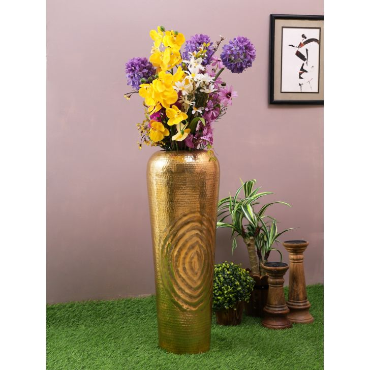 Nivaan Tall Metal Vases in Gold Colour by Living Essence