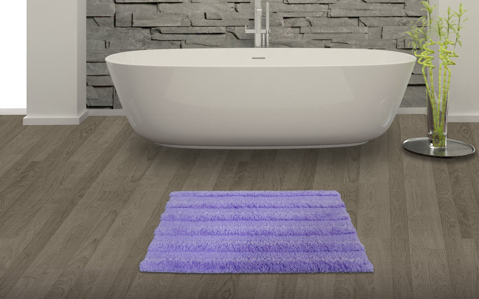 Spaces Swift Dry Lavender Cotton Bath Mat - Large Cotton Bath Mats in Lavender Colour by Spaces
