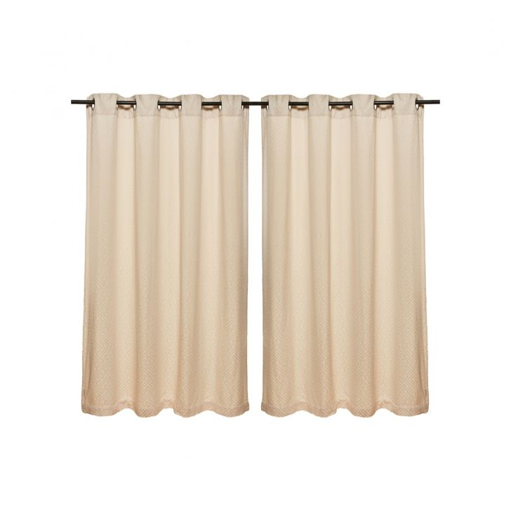 Fiesta Jacquard Polyester Window Curtains in Off White Colour by Living Essence