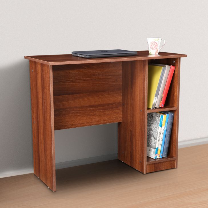 Palencia Engineered Wood Study Table With Cabinet in Brazilian walnut Colour