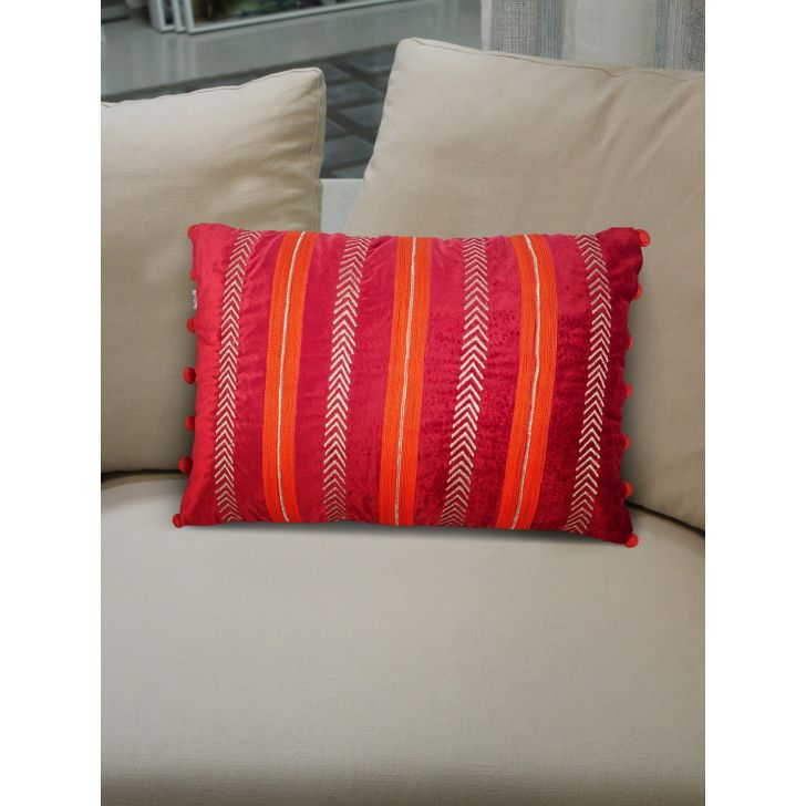 Folklore Stripe Polyester Cushion Covers in Berry Colour by Living Essence