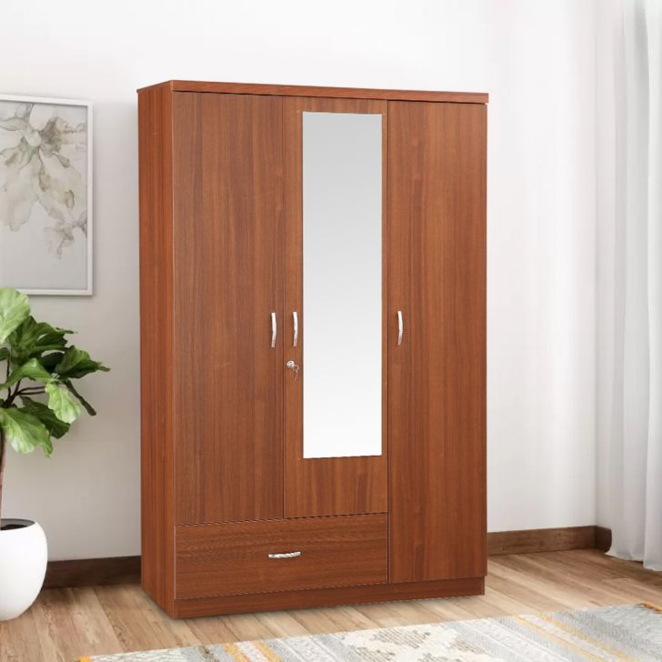 Ultima Engineered Wood Three Door wardrobe in Regato Walnut Color by HomeTown