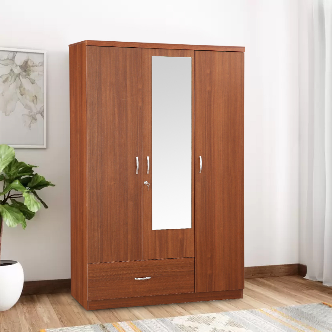 Buy Ultima Engineered Wood Three Door Wardrobe In Regato