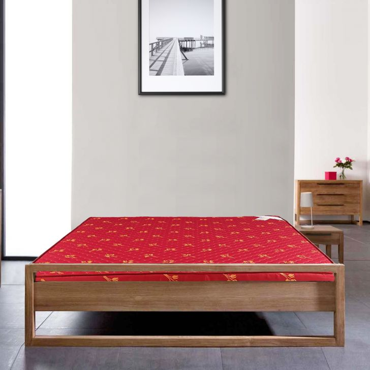 Mattress Daisy PU Foam King Bed (78*72*4) in Maroon Colour by HomeTown