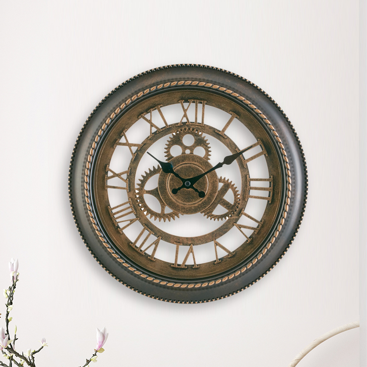 Aristo Mechanised Rope Border Clock Classic Clocks in Brown, Neutrals Colour by Living Essence