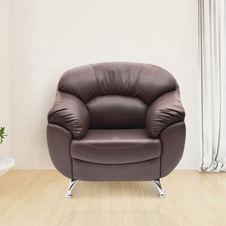 Fabia Leather Fabric Single Seater sofa in Brown Colour by HomeTown