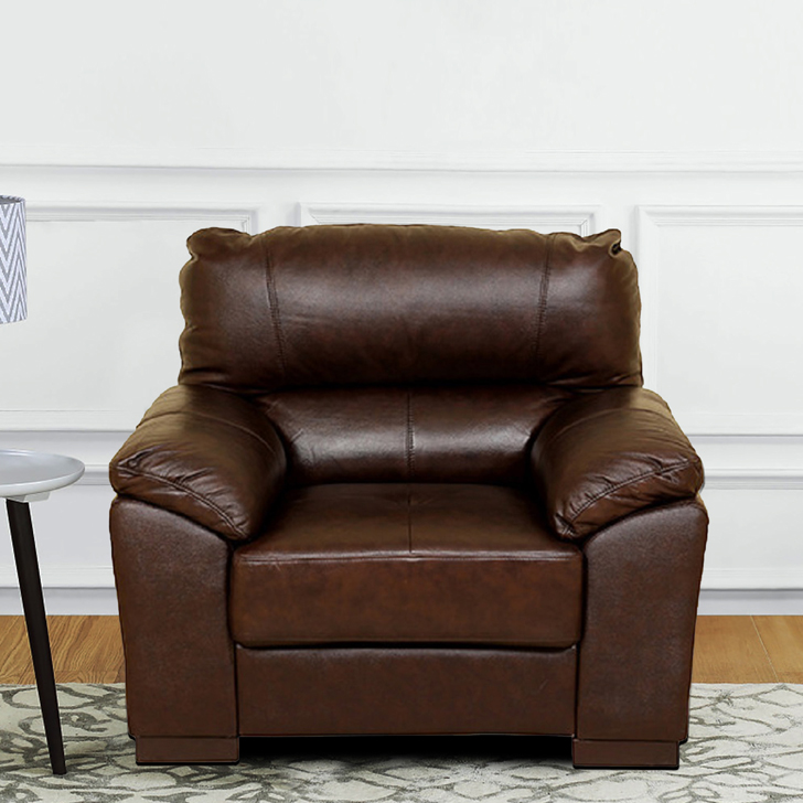 Martin Fabric & Leatherette Single Seater sofa in Brown Colour by HomeTown