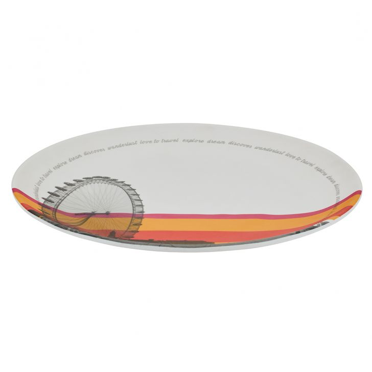 Persian 5Th Avenue Round Buffet Plate Food Grade Melamine Plates in Multi Color Colour by Living Essence
