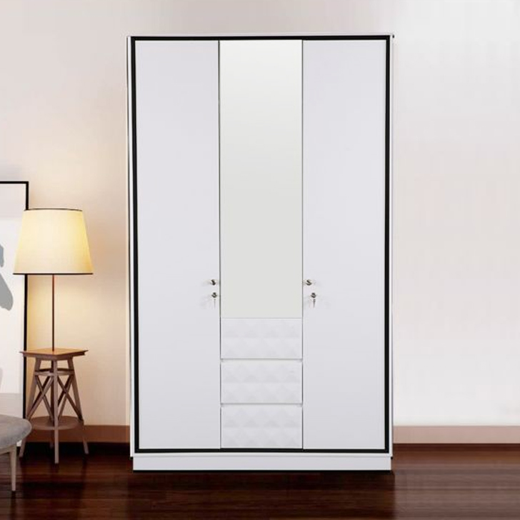 Giovanni Engineered Wood Three Door Wardrobe in High Gloss White Colour by HomeTown