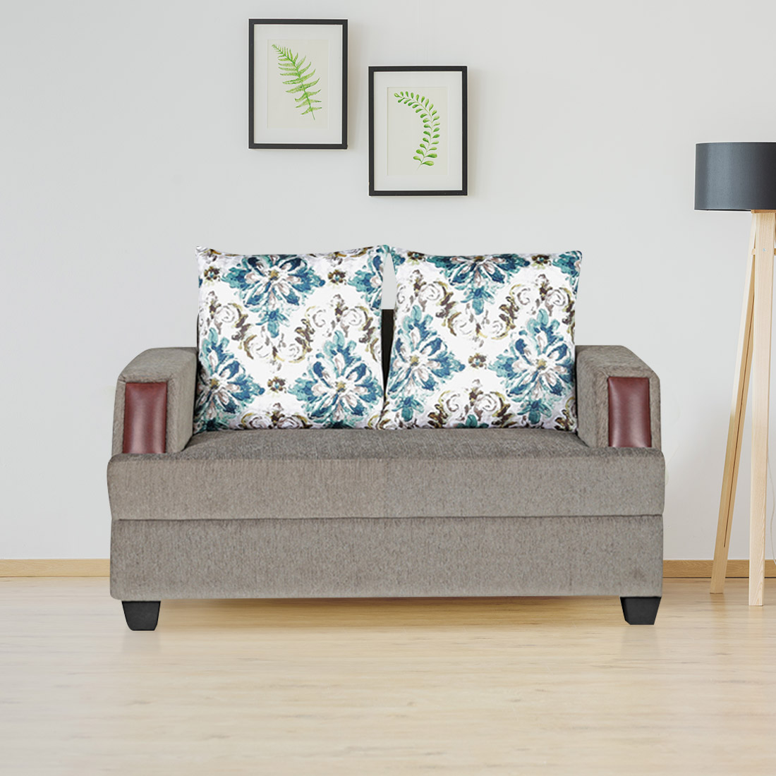 Elanza Fabric Two Seater Sofa in Olive Colour by HomeTown