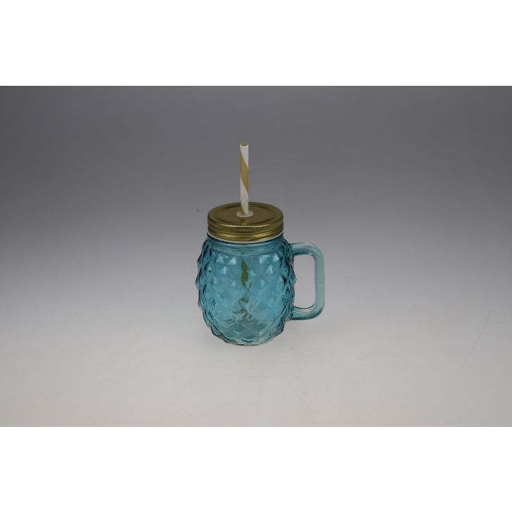 Bahamas Glass Pineapple Jar 400 ml in Teal Colour by Living Essence