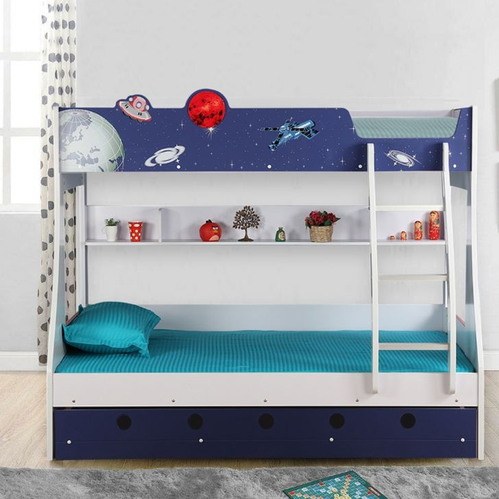 Space Engineered Wood Bunk Bed in Blue Colour by HomeTown