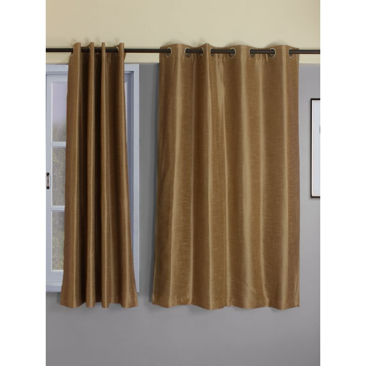 Set of 2 Emilia Blackout Polyester Window Curtains in Beige Colour by Living Essence