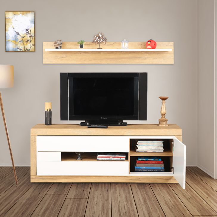 Cartier Engineered Wood TV Unit with Shelf in White High Gloss & Oak Colour by HomeTown
