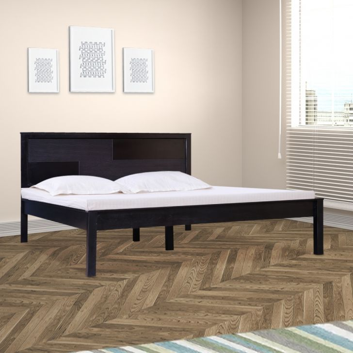 Karl Solid Wood Queen Size Bed without Storage in Walnut Colour by HomeTown
