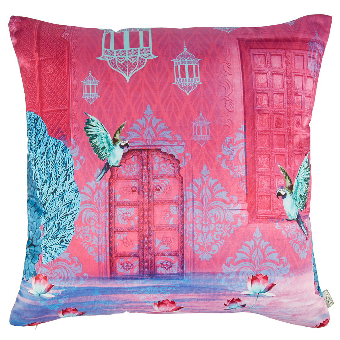 Digital Cushion Cover Bagh Cushion Covers in Poly Satin Colour by Living Essence