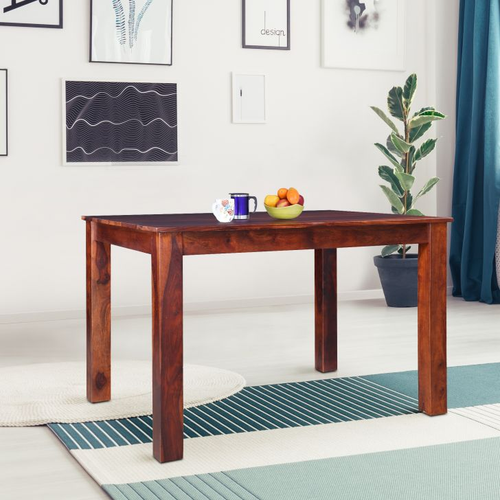 Jaxon Solidwood Four Seater Rectangle Dining Table in Teak Colour