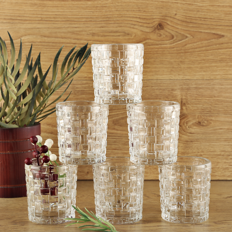 Woven Clair Whisky TumbLiving Essencer Set Of 6 Glass Glasses & Tumblers in Transparent Colour by Living Essence