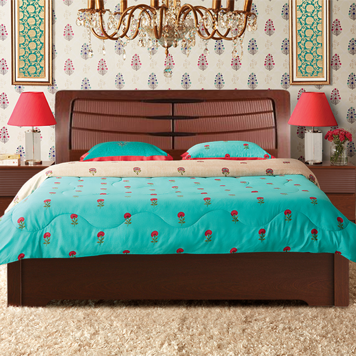Houston Engineered Wood Hydraulic Storage Queen Size Bed in Walnut Colour by HomeTown