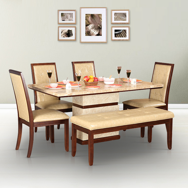 Athena Solid Wood Marble Top Six Seater Dining Set in Beige Colour by HomeTown