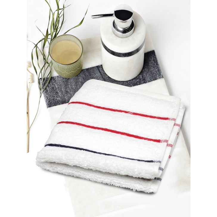 Portico New York Myra Multistripe Face Towel 30 cms x 30 cms in White Color by Portico