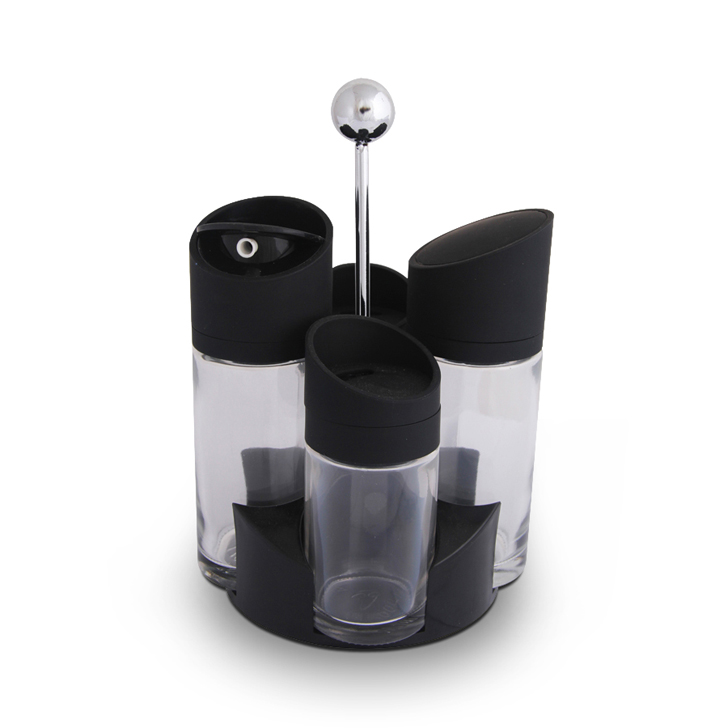 Salad Dressing Set With Stand Glass Kitchen Organizers in Clear Colour by Living Essence