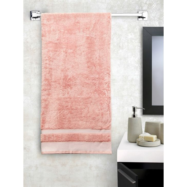 Spaces Cotton Bath Towel in Coral Colour by Spaces