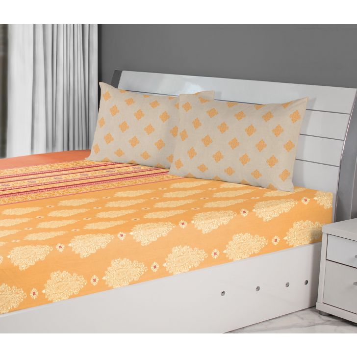 Emilia Cotton Double Bedsheets in Mango Rust Colour by Living Essence