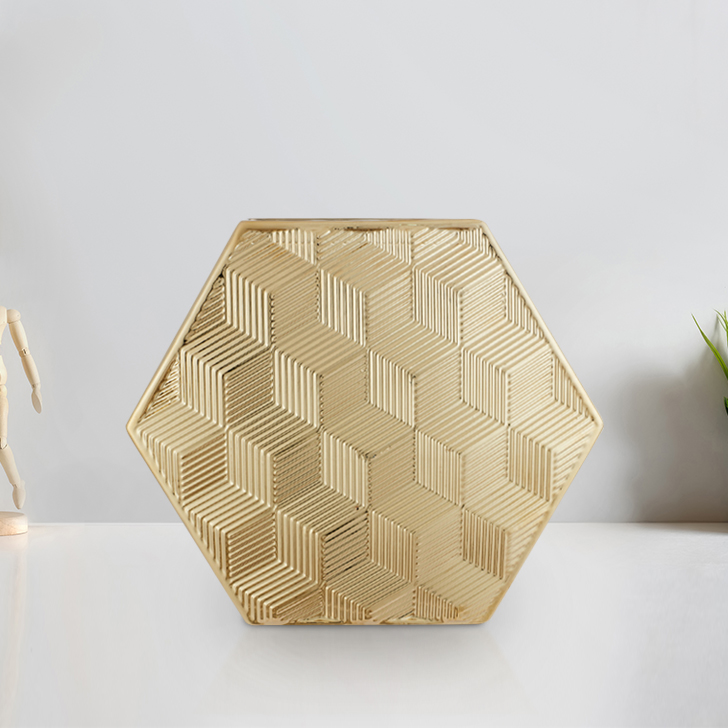 Blake Cube Textre Hexagon Vase 24Cm Ceramic Vases in Gold Colour by Living Essence