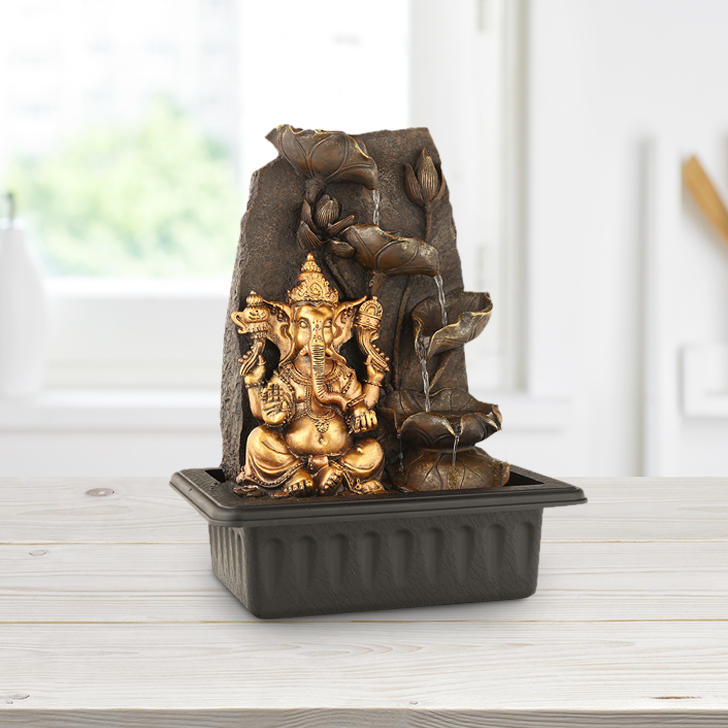 Impression Ganesha Petals Polyresin Small Fountains in Gold Colour by Living Essence