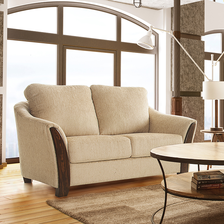 Coleman Fabric Two Seater sofa in Beige Colour by HomeTown