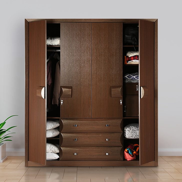 Cambry Engineered Wood Four Door Wardrobe in Walnut Colour by HomeTown
