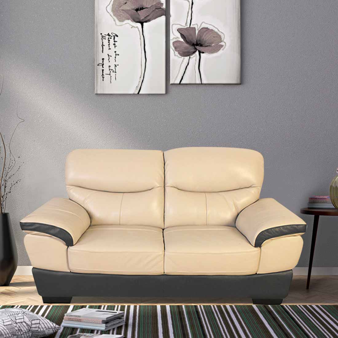 Duval Half Leather Two Seater Sofa in Beige + Brown Colour by HomeTown