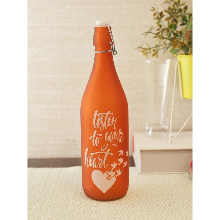 Orange Quoted Glass Frosted Bottle in Orange Colour by Living Essence