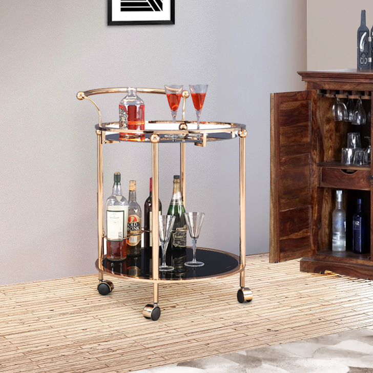 Castello Metal Serving Trolley in Gold And Black Colour by HomeTown