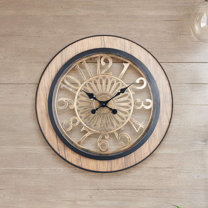 Aristo Ornate Clck With Wood Classic Clocks in Brown, Neutrals Colour by Living Essence